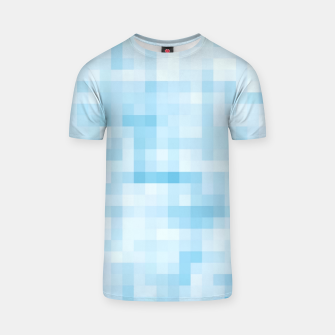 Thumbnail image of geometric square pixel pattern abstract in blue T-shirt, Live Heroes