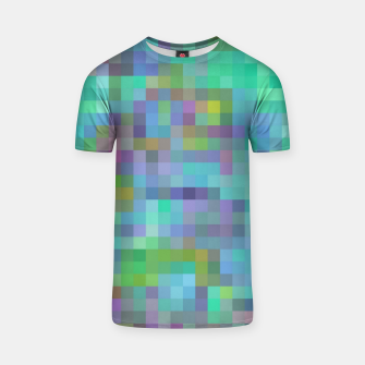 Thumbnail image of geometric square pixel pattern abstract in green blue pink T-shirt, Live Heroes