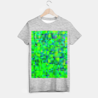 Thumbnail image of geometric square pixel pattern abstract in green and blue T-shirt regular, Live Heroes