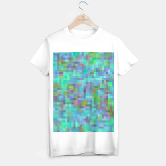 Thumbnail image of geometric square pixel pattern abstract in green blue pink T-shirt regular, Live Heroes