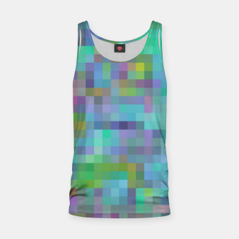 Thumbnail image of geometric square pixel pattern abstract in green blue pink Tank Top, Live Heroes