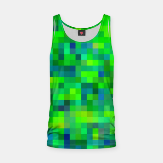 Thumbnail image of geometric square pixel pattern abstract in green and blue Tank Top, Live Heroes