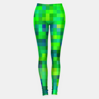 Thumbnail image of geometric square pixel pattern abstract in green and blue Leggings, Live Heroes