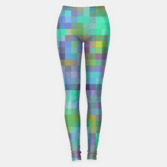 Thumbnail image of geometric square pixel pattern abstract in green blue pink Leggings, Live Heroes