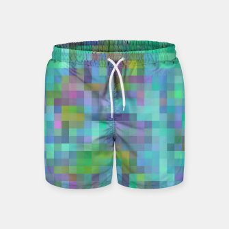 Thumbnail image of geometric square pixel pattern abstract in green blue pink Swim Shorts, Live Heroes