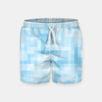Thumbnail image of geometric square pixel pattern abstract in blue Swim Shorts, Live Heroes