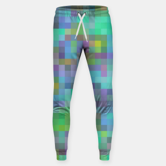 Thumbnail image of geometric square pixel pattern abstract in green blue pink Sweatpants, Live Heroes