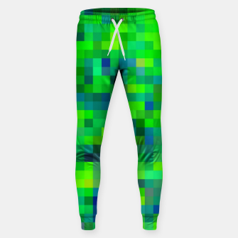 Thumbnail image of geometric square pixel pattern abstract in green and blue Sweatpants, Live Heroes