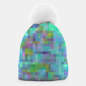 Thumbnail image of geometric square pixel pattern abstract in green blue pink Beanie, Live Heroes