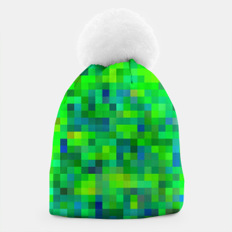 Thumbnail image of geometric square pixel pattern abstract in green and blue Beanie, Live Heroes