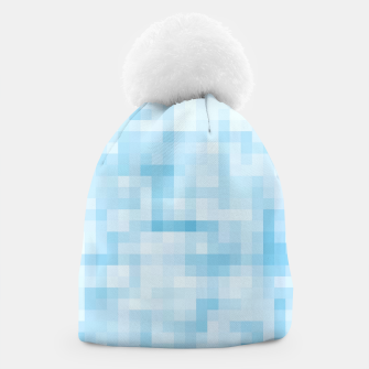Thumbnail image of geometric square pixel pattern abstract in blue Beanie, Live Heroes