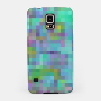Thumbnail image of geometric square pixel pattern abstract in green blue pink Samsung Case, Live Heroes