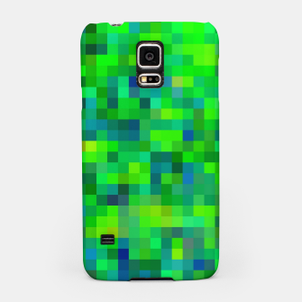 Thumbnail image of geometric square pixel pattern abstract in green and blue Samsung Case, Live Heroes