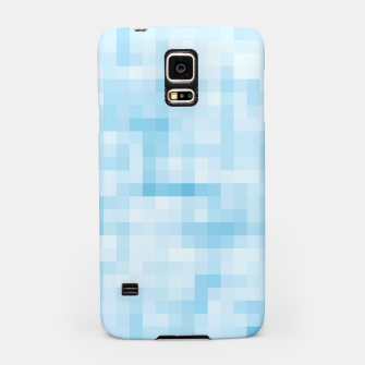 Thumbnail image of geometric square pixel pattern abstract in blue Samsung Case, Live Heroes
