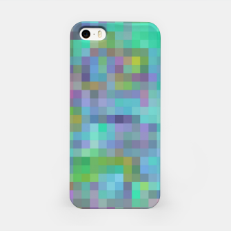 Thumbnail image of geometric square pixel pattern abstract in green blue pink iPhone Case, Live Heroes