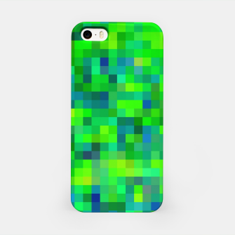 Thumbnail image of geometric square pixel pattern abstract in green and blue iPhone Case, Live Heroes