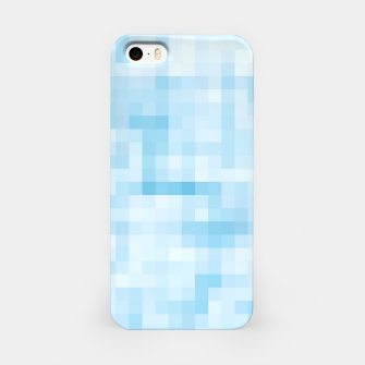 Thumbnail image of geometric square pixel pattern abstract in blue iPhone Case, Live Heroes