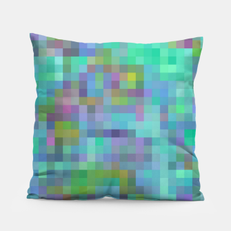 Thumbnail image of geometric square pixel pattern abstract in green blue pink Pillow, Live Heroes