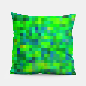 Thumbnail image of geometric square pixel pattern abstract in green and blue Pillow, Live Heroes