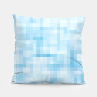 Thumbnail image of geometric square pixel pattern abstract in blue Pillow, Live Heroes