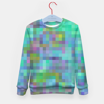 Thumbnail image of geometric square pixel pattern abstract in green blue pink Kid's sweater, Live Heroes