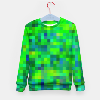 Thumbnail image of geometric square pixel pattern abstract in green and blue Kid's sweater, Live Heroes