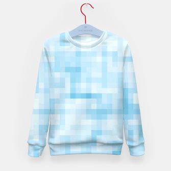 Thumbnail image of geometric square pixel pattern abstract in blue Kid's sweater, Live Heroes