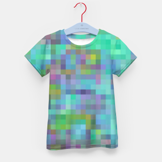 Thumbnail image of geometric square pixel pattern abstract in green blue pink Kid's t-shirt, Live Heroes