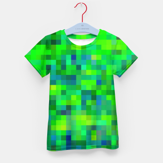 Thumbnail image of geometric square pixel pattern abstract in green and blue Kid's t-shirt, Live Heroes
