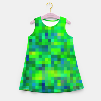 Thumbnail image of geometric square pixel pattern abstract in green and blue Girl's summer dress, Live Heroes