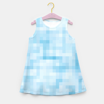 Thumbnail image of geometric square pixel pattern abstract in blue Girl's summer dress, Live Heroes