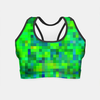 Miniature de image de geometric square pixel pattern abstract in green and blue Crop Top, Live Heroes