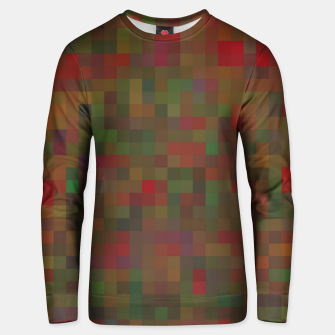 geometric square pixel pattern abstract background in red green orange Unisex sweater thumbnail image
