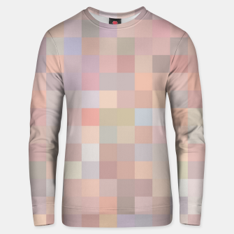 geometric square pixel pattern abstract in pink and blue Unisex sweater thumbnail image