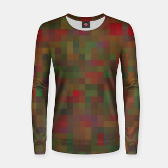 geometric square pixel pattern abstract background in red green orange Women sweater thumbnail image