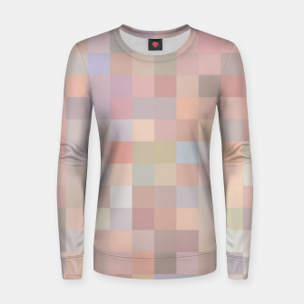 geometric square pixel pattern abstract in pink and blue Women sweater thumbnail image