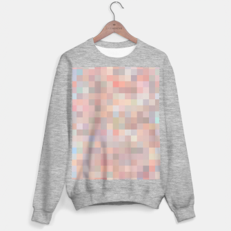 geometric square pixel pattern abstract in pink and blue Sweater regular thumbnail image