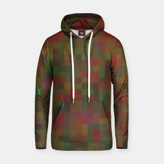 geometric square pixel pattern abstract background in red green orange Hoodie thumbnail image