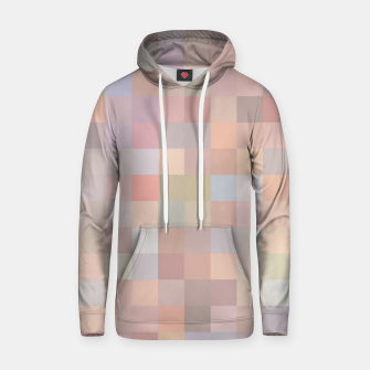 geometric square pixel pattern abstract in pink and blue Hoodie thumbnail image