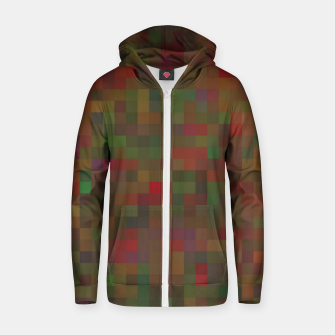 geometric square pixel pattern abstract background in red green orange Zip up hoodie thumbnail image