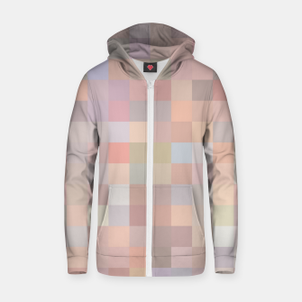 geometric square pixel pattern abstract in pink and blue Zip up hoodie thumbnail image