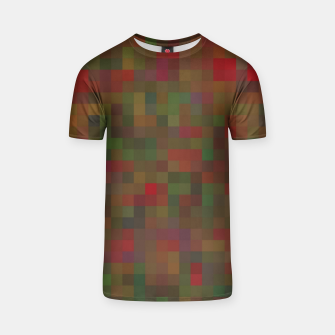 geometric square pixel pattern abstract background in red green orange T-shirt thumbnail image