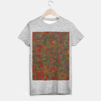 geometric square pixel pattern abstract background in red green orange T-shirt regular thumbnail image