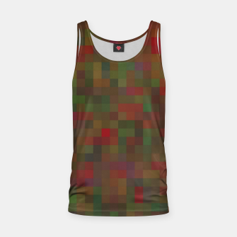 geometric square pixel pattern abstract background in red green orange Tank Top thumbnail image