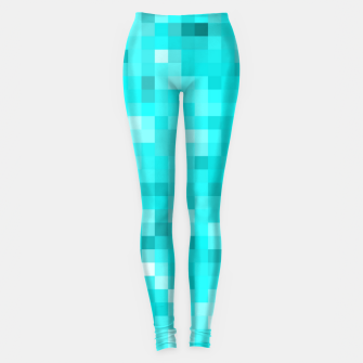 Thumbnail image of geometric square pixel pattern abstract background in blue Leggings, Live Heroes