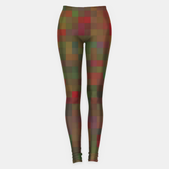 Thumbnail image of geometric square pixel pattern abstract background in red green orange Leggings, Live Heroes