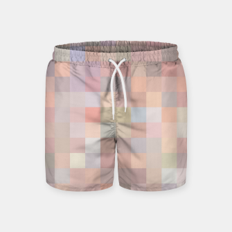 geometric square pixel pattern abstract in pink and blue Swim Shorts thumbnail image