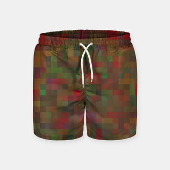 Thumbnail image of geometric square pixel pattern abstract background in red green orange Swim Shorts, Live Heroes