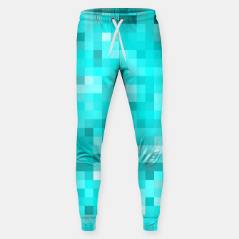 Thumbnail image of geometric square pixel pattern abstract background in blue Sweatpants, Live Heroes