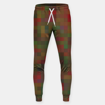 Thumbnail image of geometric square pixel pattern abstract background in red green orange Sweatpants, Live Heroes